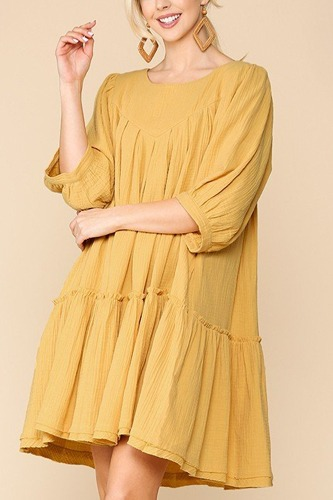 3/4 sleeve pocket ruffle pintuck swing dress-id.cc51276