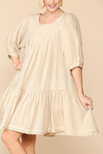 3/4 sleeve pocket ruffle pintuck swing dress-id.cc51276c
