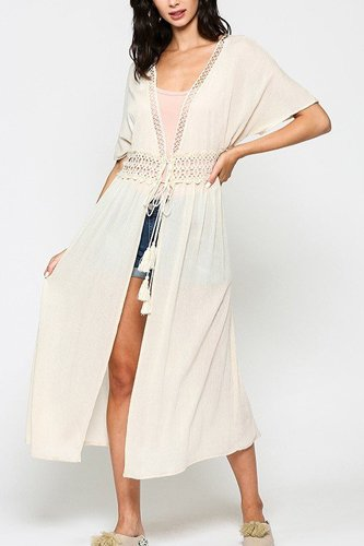 Lace trim open front tassel waist tie duster cardigan-id.cc51277a