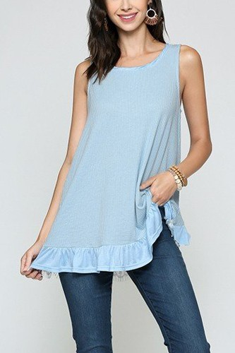 Sleeveless back lace ruffle detail tank top-id.cc51279a