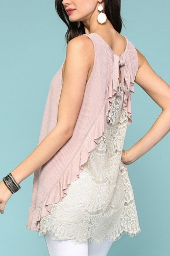 Sleeveless back lace ruffle detail tank top-id.cc51279d