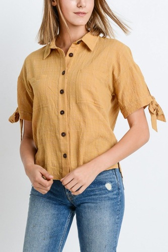 Short sleeve button up top with tie sleeve-id.cc51280