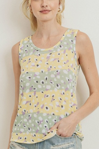 Printed terry back opened sleeveless top-id.cc51282