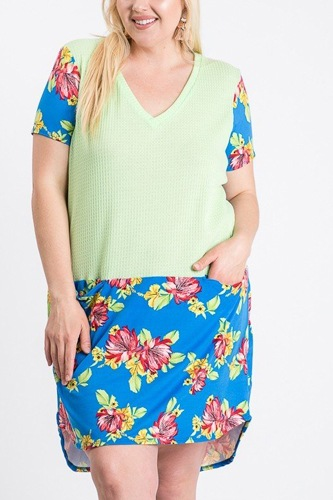 Short sleeve floral blocked midi dress with front pocket-id.cc51287
