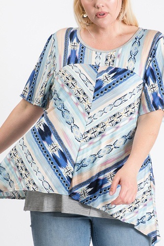 Short sleeve aztec patterned layered top-id.cc51288