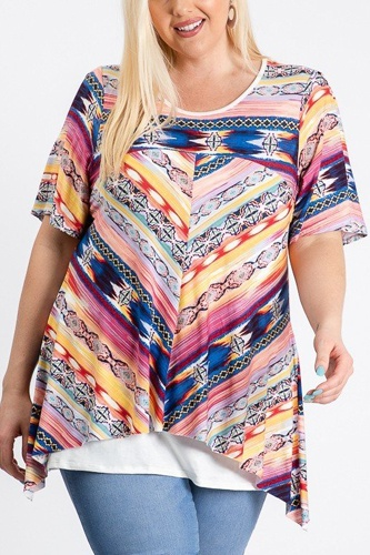 Short sleeve aztec patterned layered top-id.cc51288a