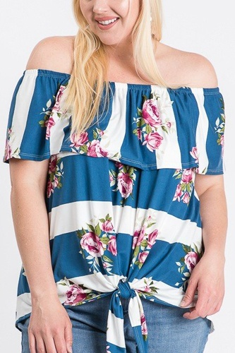 Off shoulder ruffled front tie top-id.cc51289