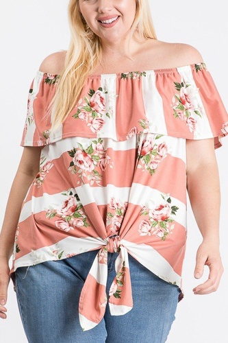 Off shoulder ruffled front tie top-id.cc51289a