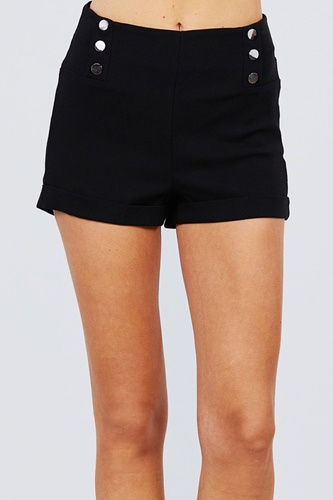 High waist button detail rolled up woven short pants-id.cc51308
