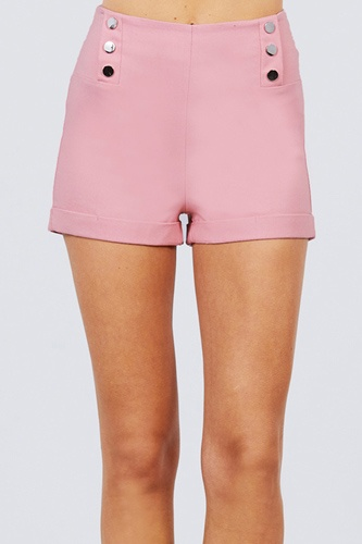 High waist button detail rolled up woven short pants-id.cc51308a