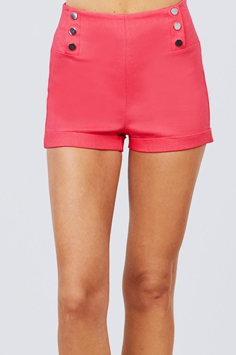 High waist button detail rolled up woven short pants-id.cc51308c