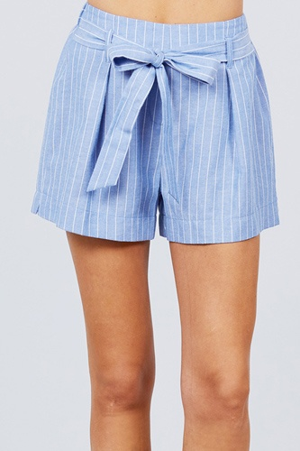 Waist bow tie y/d stripe short pants-id.cc51309