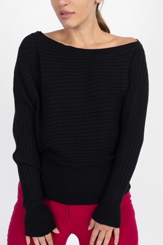 One shoulder ribbed sweater-id.cc51311