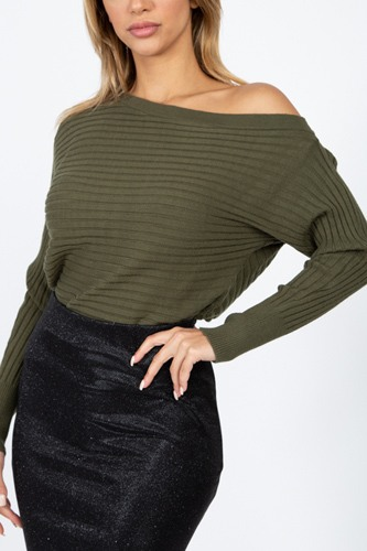One shoulder ribbed sweater-id.cc51311b