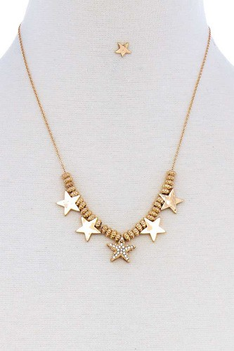 Multi star fashion pendant necklace and earring set-id.cc51319