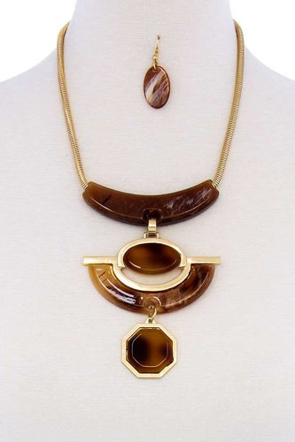 Stylish acetate organic shape chunky necklace and earring set-id.cc51324