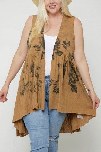 Floral sublimation print  sleeveless cardigan-id.cc51354