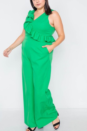 Plus size green flounce surplus v-neck wide leg jumpsuit-id.cc51373