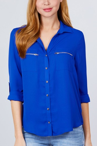 3/4 roll up sleeve pocket w/zipper detail woven blouse-id.cc51381f