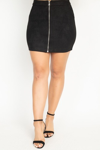Faux suede front zip skirt-id.cc51388