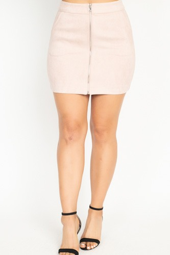 Faux suede front zip skirt-id.cc51388a
