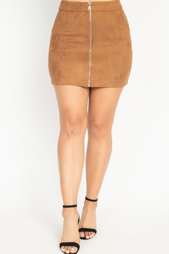 Faux suede front zip skirt-id.cc51388b