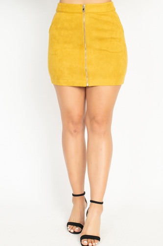 Faux suede front zip skirt-id.cc51388c