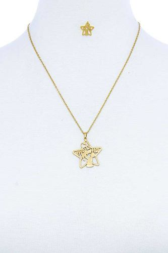 Fashion modern star mama pendant necklace and earring set-id.cc51391