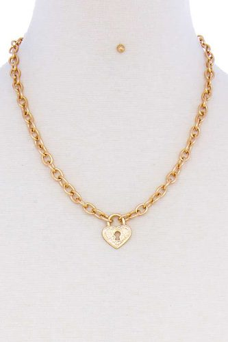 Fashion heart lock chain necklace and earring set-id.cc51395