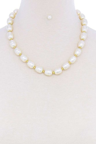 Stylish fashion pearl beaded necklace and earring set-id.cc51399