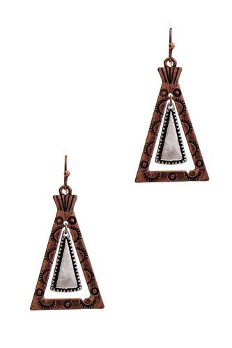 Modern chic tipi inspired triangle drop earring-id.cc51402