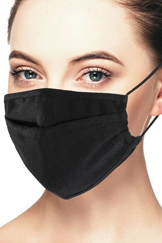Linen black 3d reusable face mask-id.cc51422