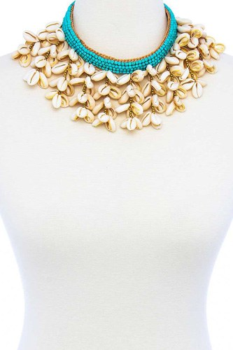 Fashion multi sea shell chunky necklace-id.cc51450