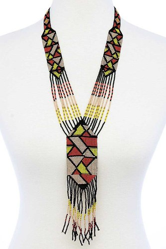 Trendy ancient pattern beaded long necklace-id.cc51457