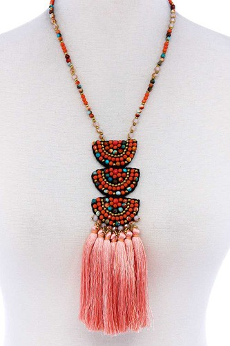 Designer multi tassel and beaded necklace-id.cc51459