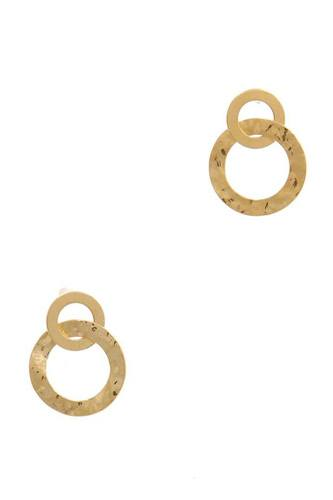Hammered metal double circle post earring-id.cc51460