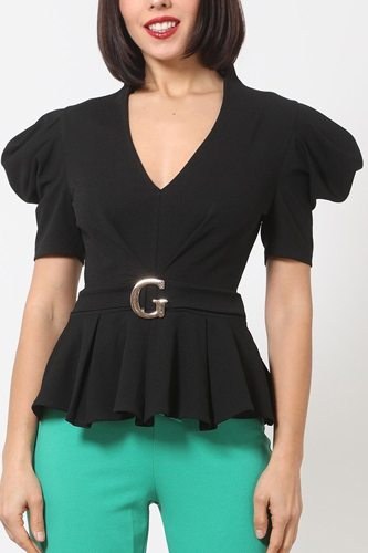 Draped puff shoulder fashion top with g buckle detail-id.cc51498b