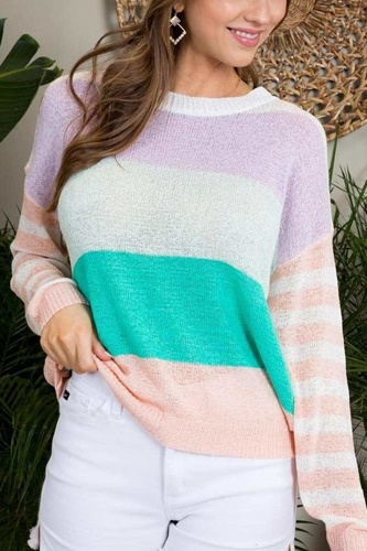Round neck stripe print long sleeve color block sweater-id.cc51503