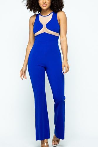 Stretchable jumpsuit with mesh details and center back zippered-id.cc51508