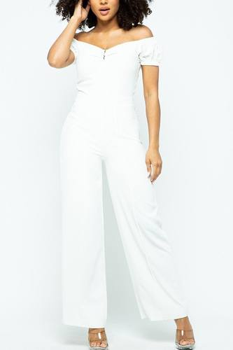 Puff short sleeve jumpsuit with u metal details and back open zippered-id.cc51509