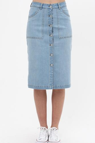 Denim mid thigh length skirt with button down front detail-id.cc51511