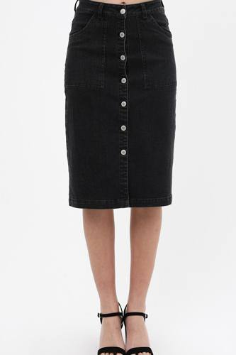 Denim mid thigh length skirt with button down front detail-id.cc51511a