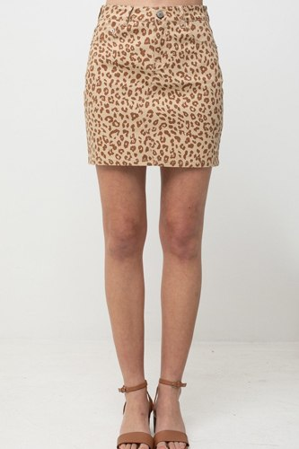 Leopard printed cotton span mini skirt-id.cc51514