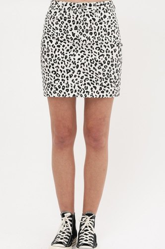 Leopard printed cotton span mini skirt-id.cc51514a