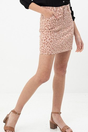 Leopard printed cotton span mini skirt-id.cc51514b
