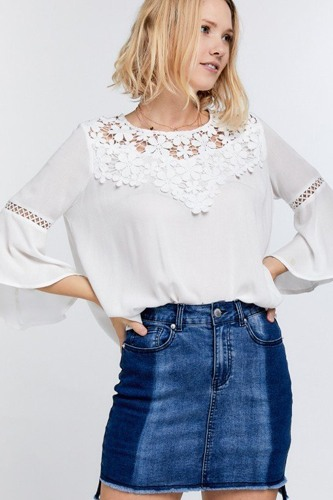 Cute floral mesh lace aid.ccent yoke crochet detailed tie-back bell sleeve blouse top-id.cc51515