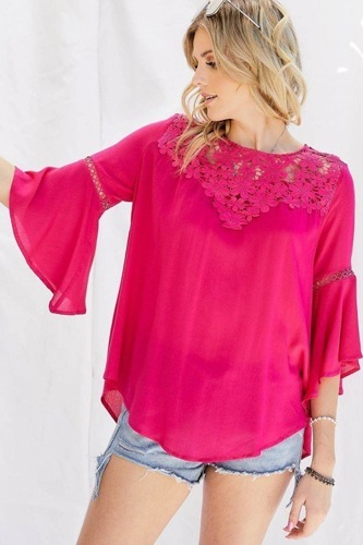 Cute floral mesh lace aid.ccent yoke crochet detailed tie-back bell sleeve blouse top-id.cc51515c