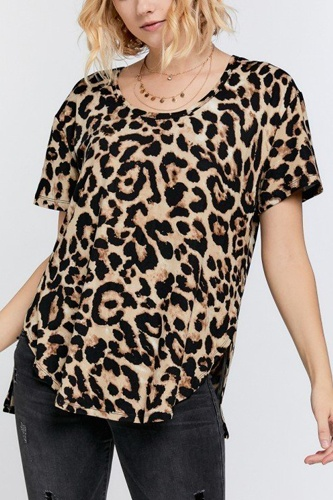 Wild animal print round neck short sleeve tee-id.cc51518