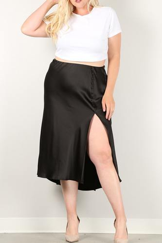 Solid high-waist skirt with button trim and side slit-id.cc51520a