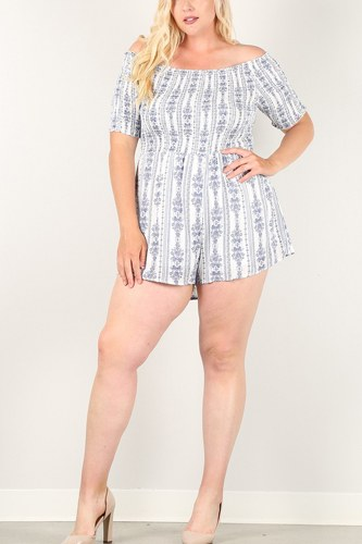 Printed, off-shoulder romper with smocked bodice-id.cc51522